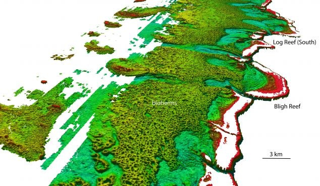 Green areas show deep water while red areas show shallow water