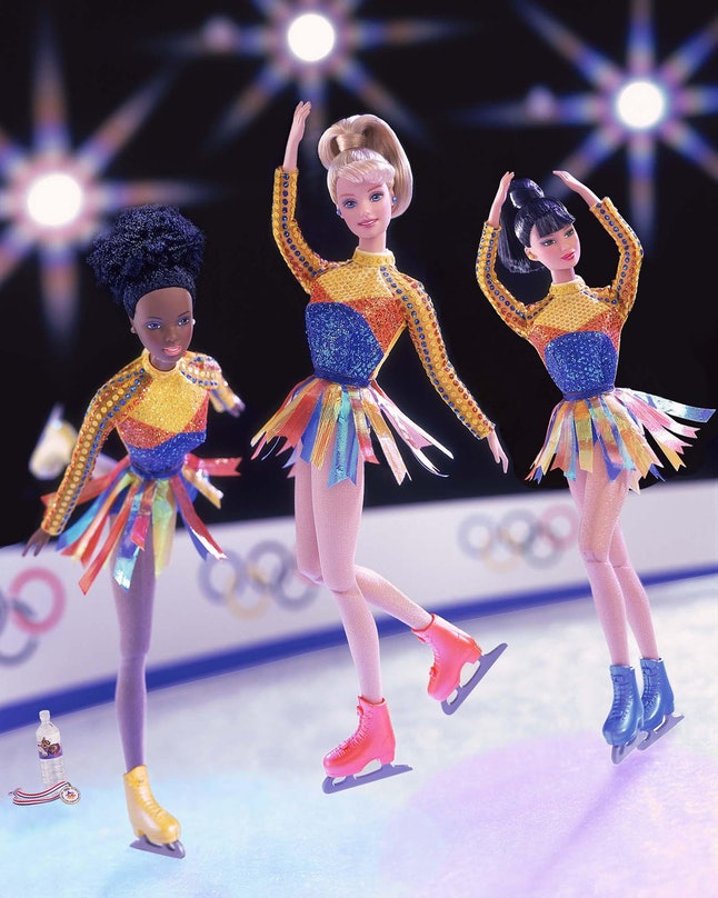 This Barbie is an ice skater who can really twirl and skate as she performs in the Salt Lake City 2002 Olympic Winter Games