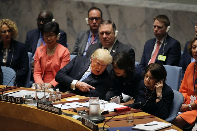 President Donald Trump speaks with Nikki Haley during a United Nations Security Council meeting in September.