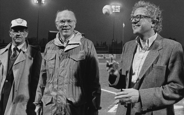 Then-Mayor of Burlington, Vermont Bernie Sanders (right) prepares to throw out the first pitch at a 1984 minor league game.