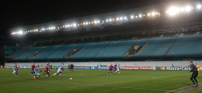 Manchester City and CSKA Moscow play in front of an empty crowd