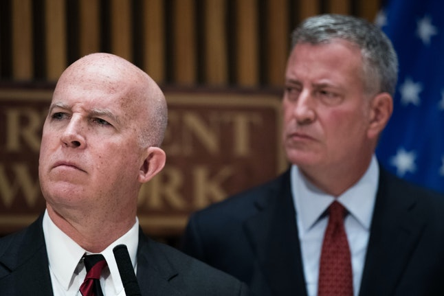 NYPD Commissioner Jim O'Neill, left, and Mayor Bill de Blasio appear together at a news conference.