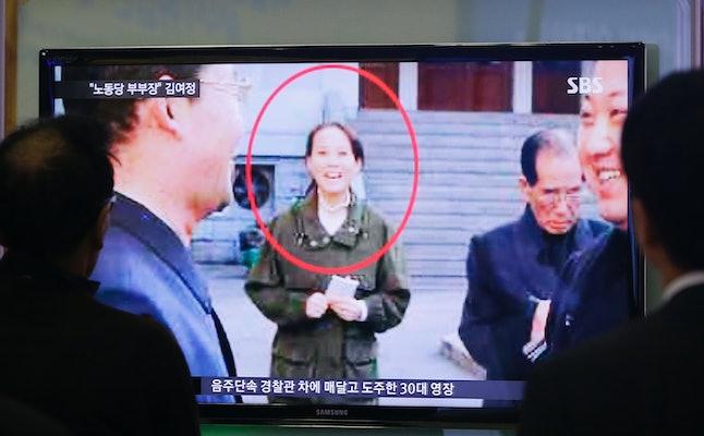 People watch a TV news program showing Kim Yo Jong, North Korean leader Kim Jong Un's younger sister, at Seoul Railway Station in Seoul, South Korea on Nov. 27, 2014.