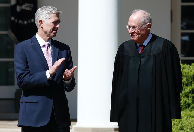 Supreme Court Justice Anthony Kennedy and Justice Neil Gorsuch participate in a public swearing-in ceremony for Gorsuch.