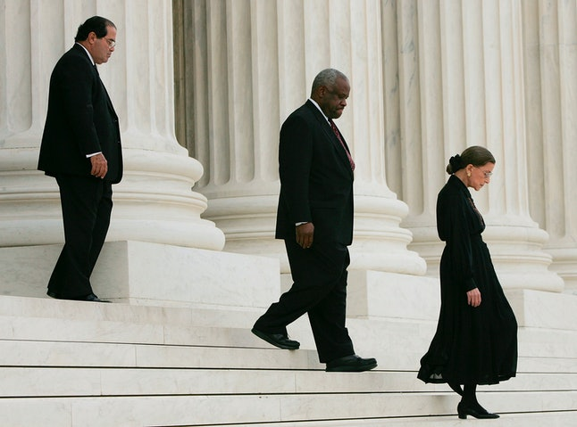 Supreme Court justices Atonin Scalia, who died in February, Clarence Thomas and Ruth Bader Ginsburg