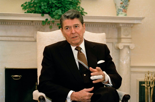 President Reagan appears during an interview with reporters in Washington, D.C., Jan. 19, 1989.
