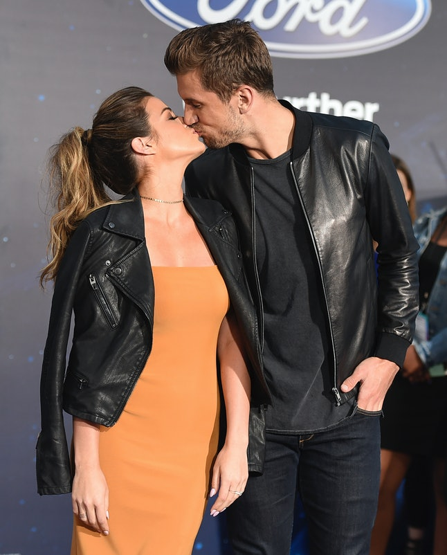 JoJo Fletcher and Jordan Rodgers kiss at the 'Guardians of the Galaxy 2' premiere.