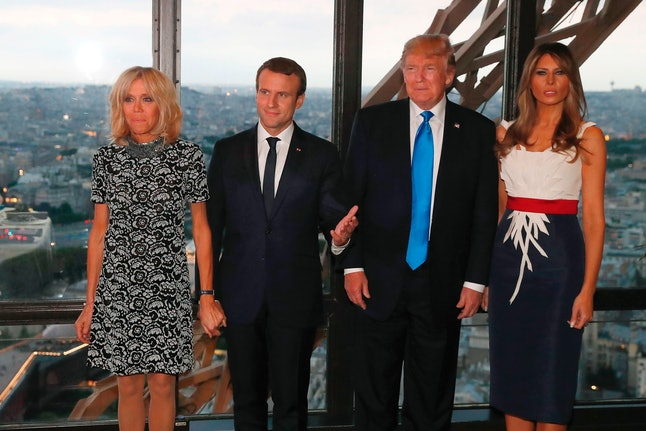 (From left): Brigitte Macron, Emmanuel Macron, Donald Trump and Melania Trump at a dinner in the Eiffel Tower