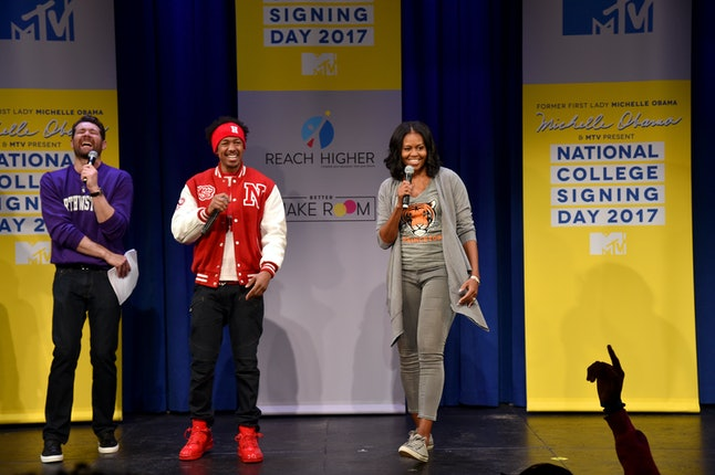 Michelle Obama (right) at MTV's 2017 College Signing Day on May 5