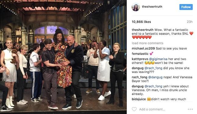 Sasheer Zamata's farewell post to 'Saturday Night Live' on Instagram.