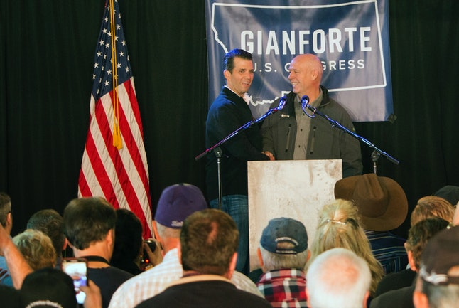 Greg Gianforte campaigns with Donald Trump Jr.