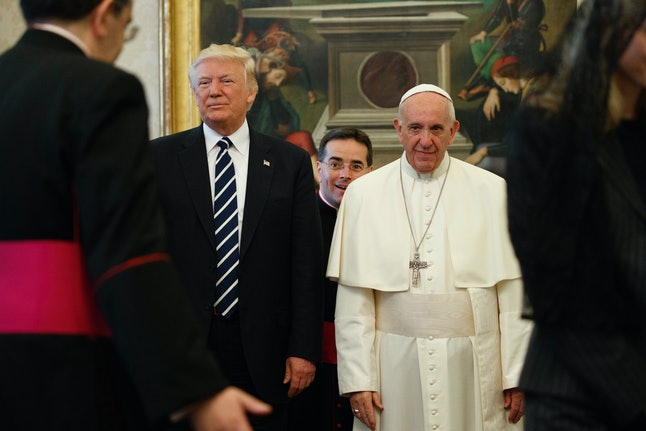 President Donald Trump meets with Pope Francis at the Vatican on Wednesday morning.
