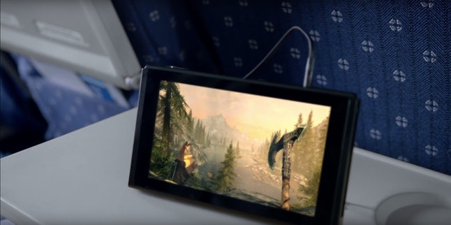 Note that that is Skyrim running on the Nintendo Switch's portable screen. While the gamer is on an airplane. Skyrim on an airplane. Whoa.