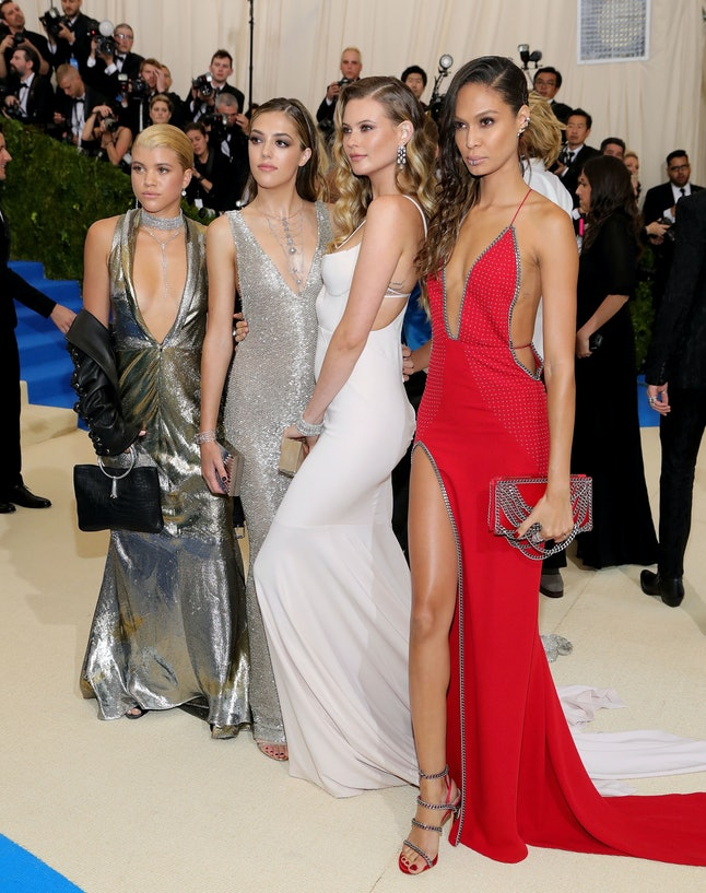 Sofia Richie (far left) with models Sistine Rose Stallone, Behati Prinsloo, and Joan Smalls at the Met Gala