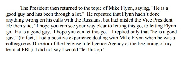James Comey's written testimony claims Trump requested the Michael Flynn investigation simply go away.