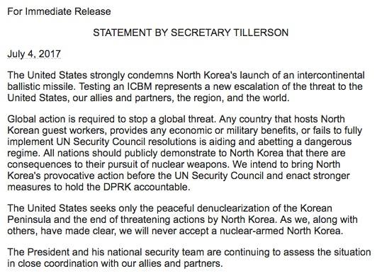Statement on North Korea ICBM launch by US Secretary of State Rex Tillerson.