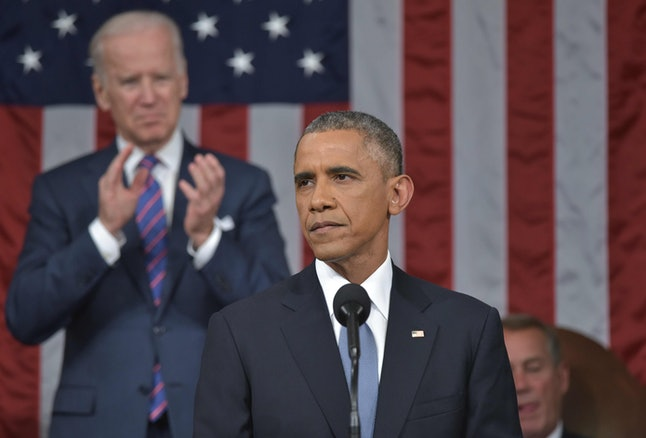 President Barack Obama delivering the 2015 State of the Union Address.