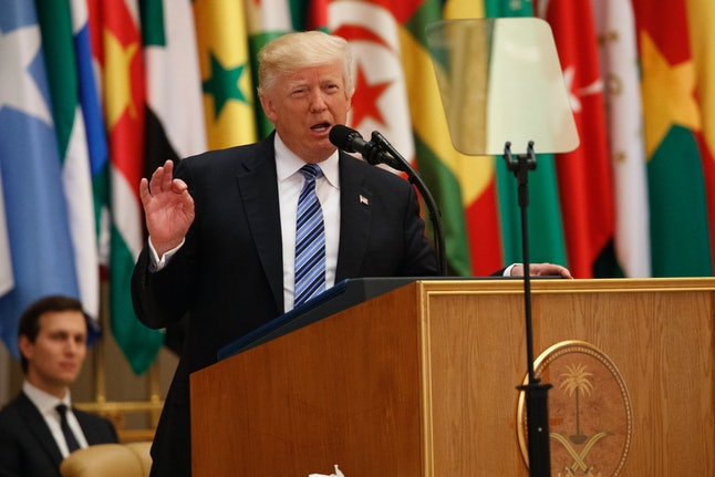 Donald Trump delivers a speech to the Arab Islamic American Summit in Riyadh, Saudi Arabia.