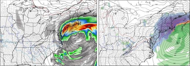 European model forecast (left) vs. NAM forecast (right).