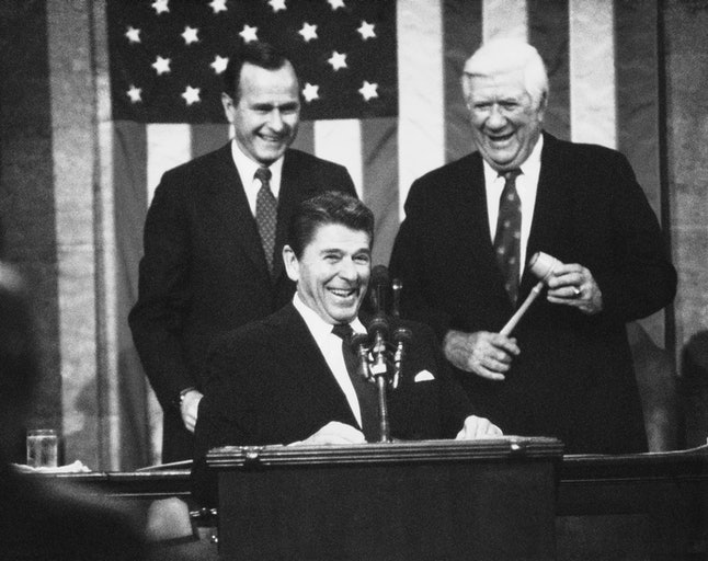 President Ronald Reagan with Vice President George Bush and Speaker of the House Thomas P. O'Neill Jr. prior to delivering the State of the Union Message in January 1983.