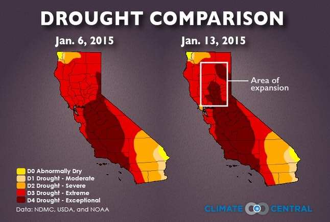 California's drought expansion in under a week