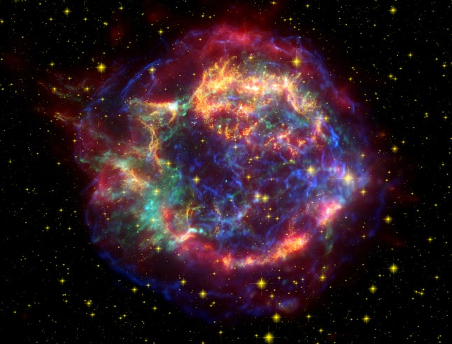 The remnant of a supernova.