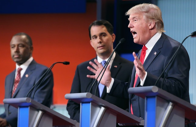 Ben Carson, Scott Walker and Donald Trump at the first GOP debate Aug. 6.