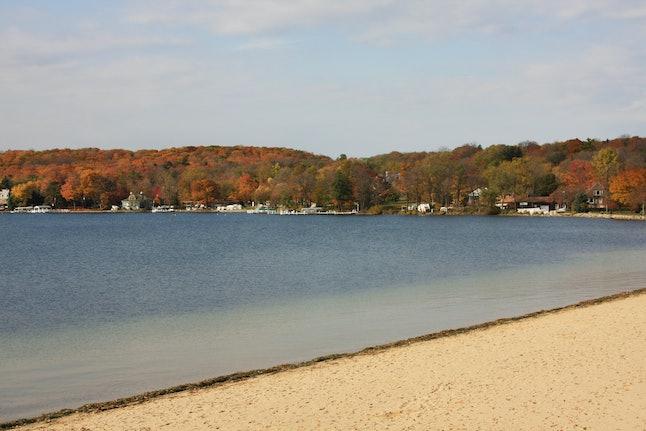 The calm Lake Geneva in Wisconsin