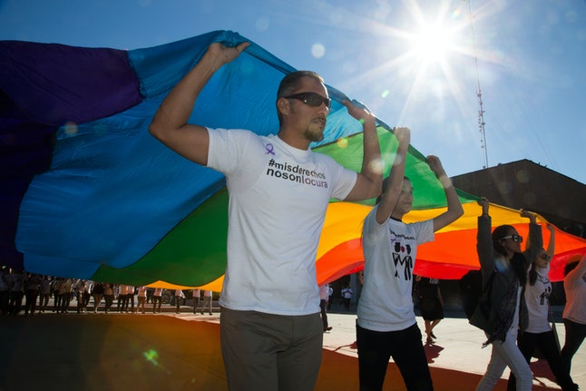 Same-sex activists marching in Mexico in June.