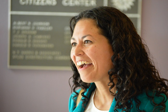 Xochitl Torres Small, a Democratic candidate for Congress, speaks to voters at a Las Cruces, New Mexico, event.