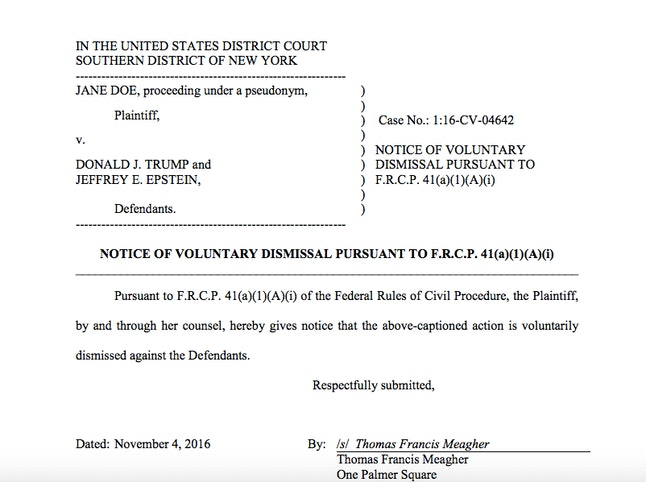 A screenshot of the court documents dismissing the lawsuit.