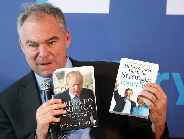 Tim Kaine, Virginia Sen. and Hillary Clinton's running mate, who very much enjoys an illustrative side-by-side comparison of these two books.