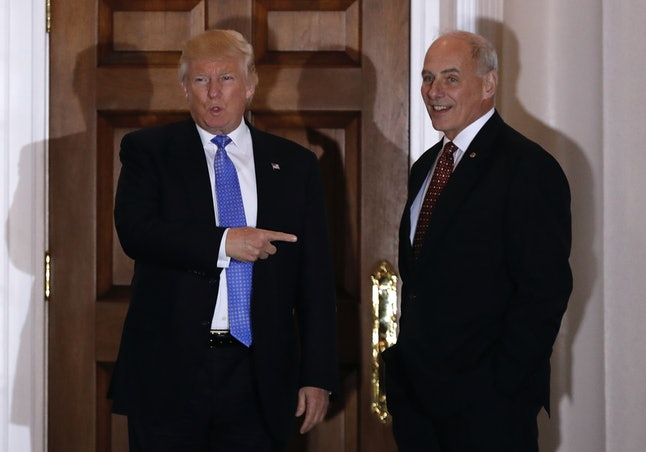 Donald Trump meeting with John Kelly, who is reportedly Trump's pick to run the Department of Homeland Security.