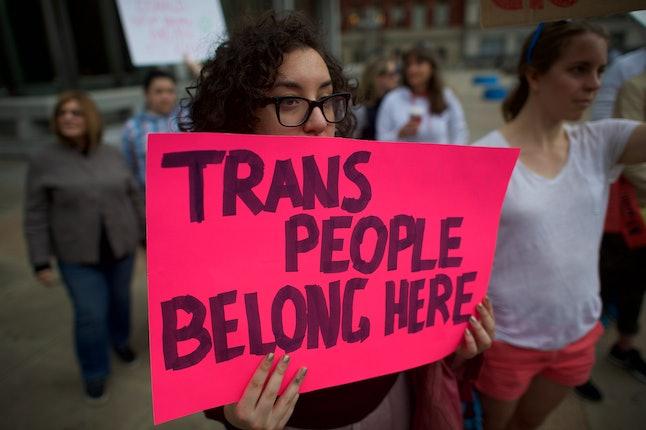 Protestors demonstrate in Philadelphia in February.