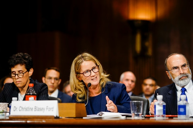 Christine Blasey Ford on Thursday accuses Brett Kavanaugh of sexual assault during a hearing on Capitol Hill.