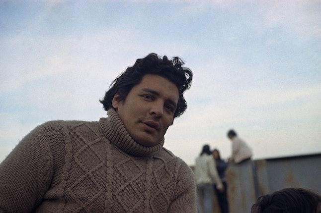 Native American civil rights leader Richard Oakes stands on Alcatraz Island in San Francisco Bay in November 1970.