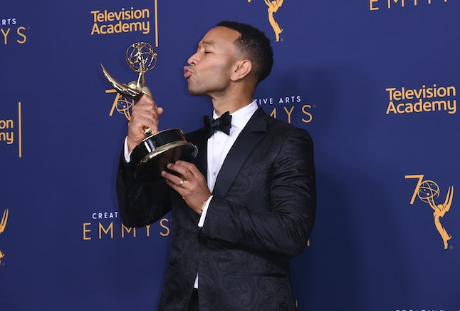 John Legend, winner of the award for outstanding variety special for 'Jesus Christ Superstar Live in Concert,' during  the Creative Arts Emmy Awards, Sept. 9, in Los Angeles.