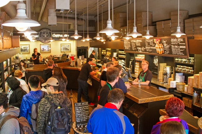An interior view of a Starbucks location
