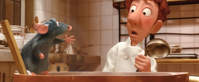 Remy the rat, voiced by Patton Oswalt, and Linguini, voiced by Lou Romano
