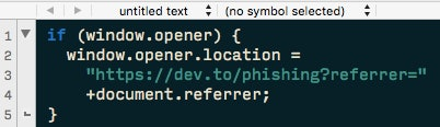 This is the simple line of code Ben Halpern used in order to bait-and-switch any vulnerable site.