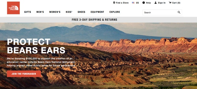 The North Face's homepage on Tuesday