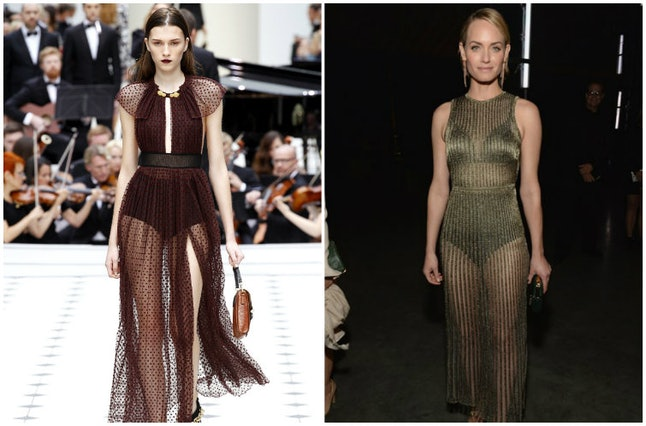 A model at Burberry Prorsum Spring/Summer 2016 and actress Amber Valletta in Vionnet