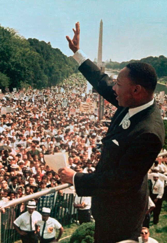 """Martin Luther King Jr. acknowledging the crowd at the Lincoln Memorial for his """"I Have a Dream"""" speech during the March on Washington on Aug. 28, 1963."""