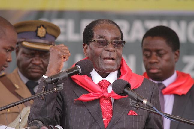 Robert Mugabe at his 91st birthday party