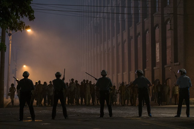 Police and rioters confront each other in Kathryn Bigelow's 'Detroit.'