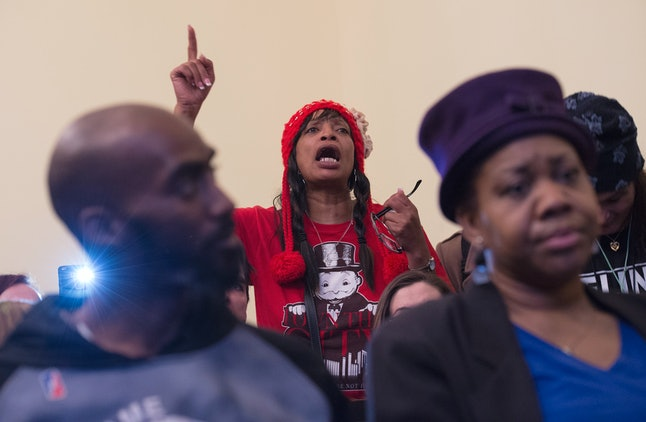 Flint residents speak out at a House of Representatives committee meeting in Washington, DC, in February