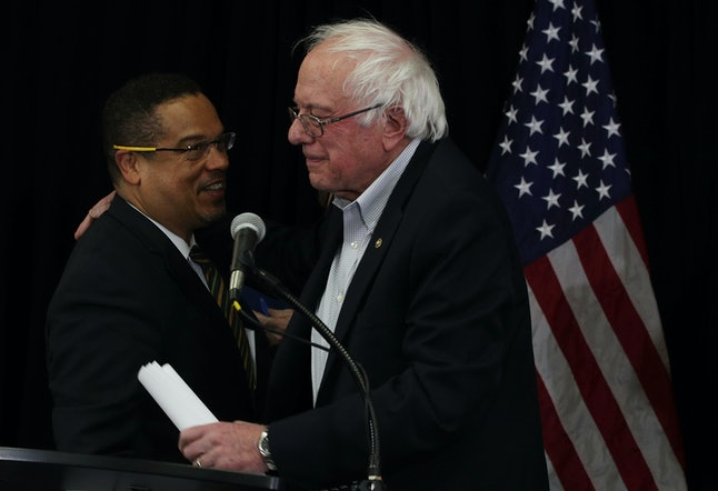 Keith Ellison Bernie Sanders at the headquarters of American Federation of Teachers in December, 2016.