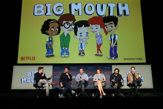 Ben Travers, Nick Kroll, Andrew Goldberg, Jessi Klein, Jason Mantzoukas, and John Mulaney speak onstage at the #NETFLIXFYSEE Animation Panel Featuring 'Big Mouth' and 'BoJack Horseman' on May 21 in Los Angeles.