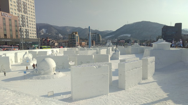 An elaborate snow sculpture festival adjacent to the Pyeongchang Olympic Plaza is nearly empty on Feb. 9, just hours before the opening ceremony of the 2018 Winter Olympics.