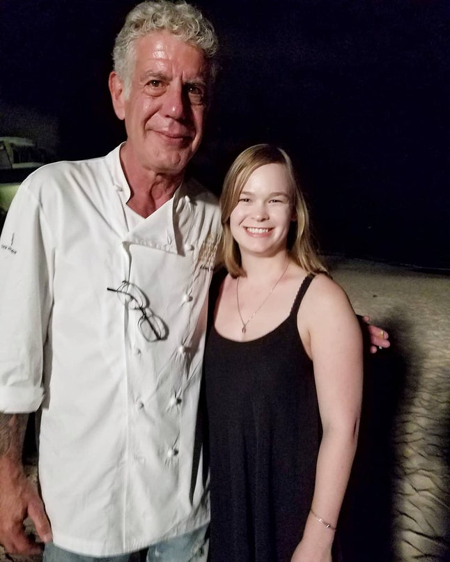 Anthony Bourdain and writer Katie Lockhart in the Cayman Islands